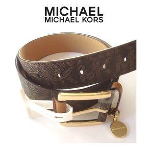 NWT MICHAEL KORS MK Logo Leather With Charm Belt